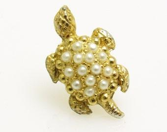 Vintage Turtle Tie Tack Pearl Mens Vintage Jewelry H862