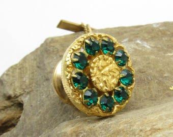 Green Rhinestone Tie Tack Mens Vintage Jewelry Accessories H897
