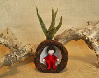 Spring Tulip Waldorf inspired needle felted flower-doll: Red root child