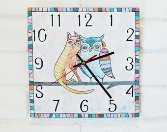 The Cat and Owl Wall Clock, Blue Pink Gray Purple Home Decor for Children Baby Kid Boy Girl