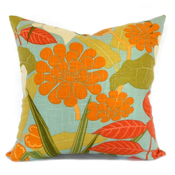 Pillow Covers ANY SIZE Decorative Pillow Cover Orange Pillow Calla Lily Robert Allen Rowlily