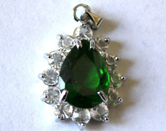 Emerald Green Faceted Charm/Pendant with Rhinestones