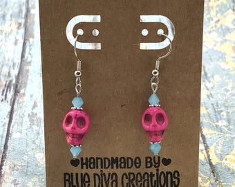 Pink Skull Earrings, Day of the Dead Earrings, Dia de los Muertos Earrings, Sugar Skull Earrings, Bead Jewelry, Mexican Jewelry