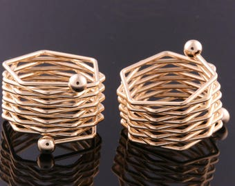 2PCS-18mm High Quality Nickel Free And Lead Free Gold Plated Brass Adjustable RING Blank Base Deco (E374G)