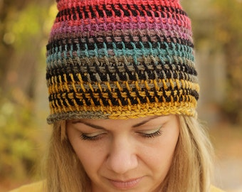 Womens Hats Crochet Hat Slouchy Hat Slouchy Beanie Colorful Winter Hat Chunky hat Womens Beanies Womens Accessories Girlfriend Gift Women