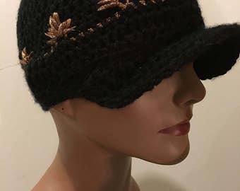 Black & Gold crochet cap