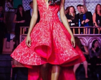 "Irina Shabayeva Red Lace ""V"" neck high low hem dress."
