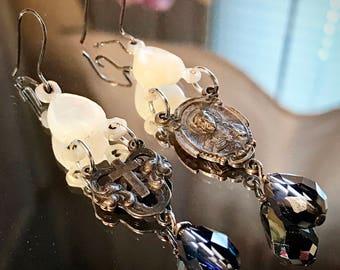 Vintage mother of pearl Swarovski crystal vintage rosary assemblage earrings by Alpha Female Studio OOAK