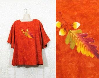 Vtg 90s Earthy Orange Batik OAK LEAF Detail Oversized Ethnic Top Free Plus Size