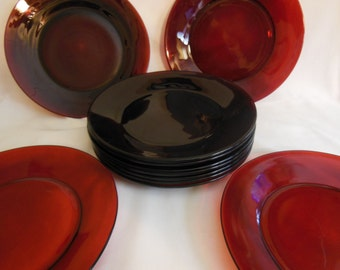 "Offers considered Vintage Anchor Hocking Royal ruby red 9"" dinner plates Ruby red plates set of 5"
