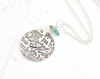 "Long ""Sea Glass Necklace"" Artisan Eco Friendly Fine Silver Beach Glass Jewelry. PMC"