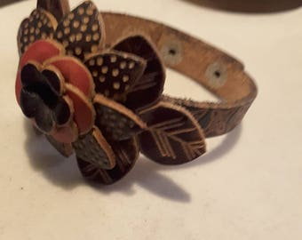 Vintage leather flower bracelet