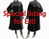 Special listing for Esti - boho wool coat with rose collar in black and grey / lagenlook coat plus size US size 18-20