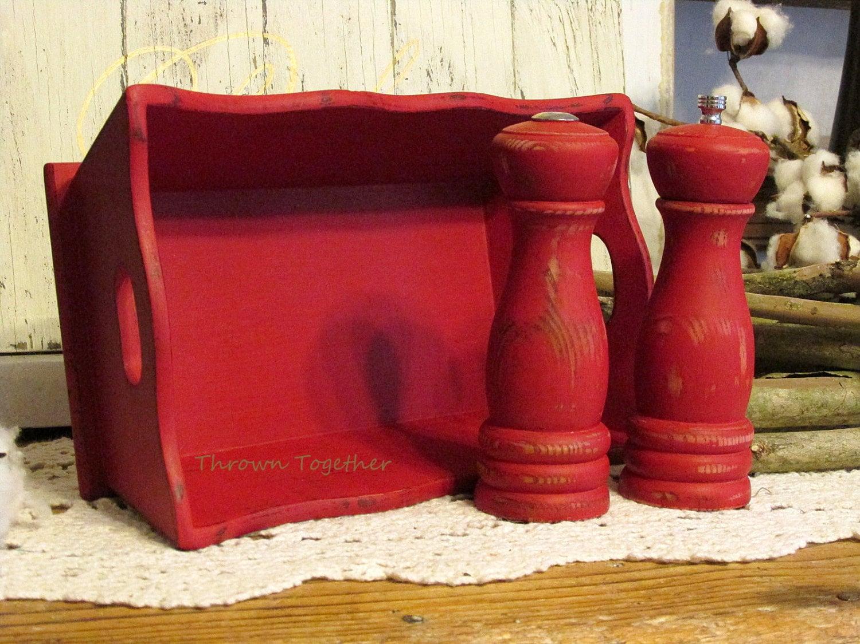 Salt Shaker U0026 Pepper Grinder Bread Basket Set, Distressed Red Kitchen Decor,  Wooden Shakers, Barn Red Farmhouse Kitchen Decor, Bread Basket