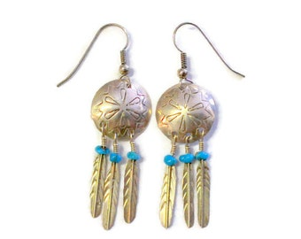 Native American Silver Turquiose Feather Dangle Earrings