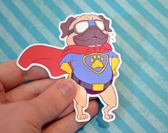 Super Pug Vinyl Sticker