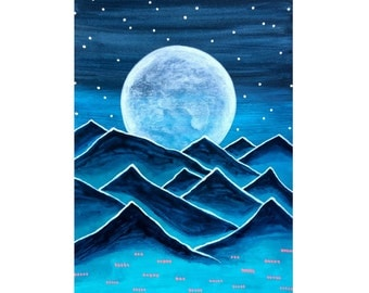 Funky Mountains No. 13 - original acrylic painting on paper full moon dark blue teal mountain art surreal mountain painting winter landscape