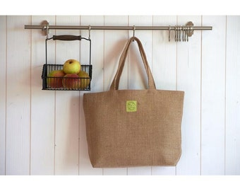 bag burlap rustic lime linen lined basket