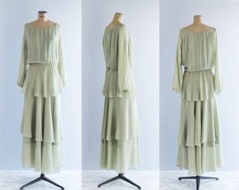 1970s Pale Green Maxi Dress - Vintage 70s Layered Chiffon Gown - Fresh Air Dress