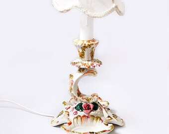 Antique Italian floral lamp, Bassano Ceramic Roses table lamp,Flowers Boudoir Lamp,Shabby Chic Style Bedroom Lamp
