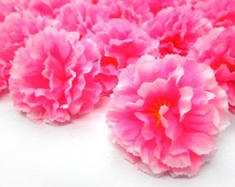 """2"""" Hawaiian Carnation Heads (Pack of 24) - Neon Pink - Artificial Flower, Silk Flower Heads"""