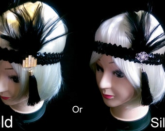 Black and silver or gold 1920s style Charlston/Flapper-girl sequin and tassell/headband/brow-band
