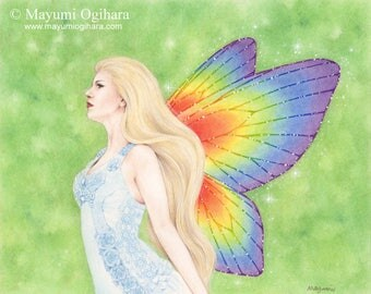 Enchanting Wings - Open edition art print, colored pencil drawing, fantasy, fairy, wings, rainbow colors, beauty