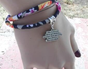 Wrap Bracelet, Double Wrap Bracelet, Fabric Bracelet, Fabric Jewelry, Charm Bracelet, Floral Jewelry, Inspirational Charm, Feminine Gifts