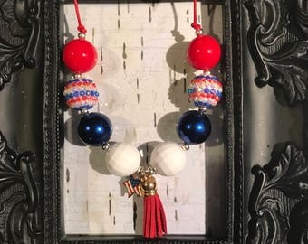 July 4th patriotic bubblegum chunky tassel necklace