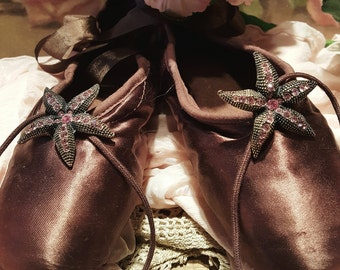 Vintage Ballet Pointe Shoes by Freed Chocolate Brown Satin Shabby & Chic
