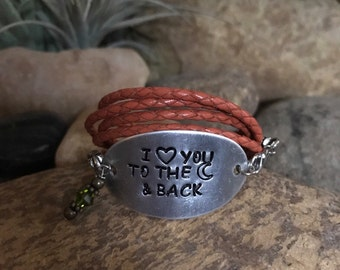 I love you to the moon and back hand stamped leather bracelet with crystal - for that special someone or occasion