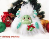 "Christmas plush yeti artist bear, Special Edition green and white monster plush, polymer clay brooch, Christmas decor, ""Mistletoe"""