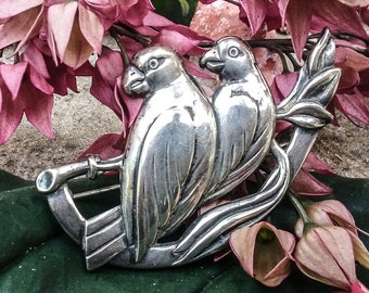 Sterling Silver Parrot Brooch A380