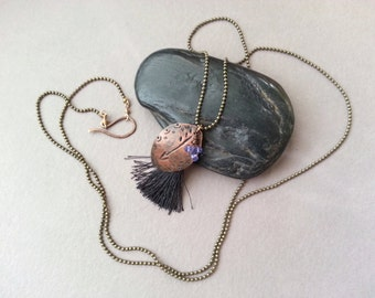 Stamped Copper Leaf Necklace, Arrow Stamp, Black Tassel, Lavender Mystic Quartz Dangle, Brass Ball Chain, Modern Boho Chic, Christmas Gift