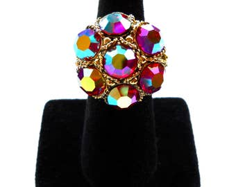 Vintage Huge Rhinestone Cocktail Statement Ring  Ornate Setting Aurora Borealis Purple, Pink, Blue, Red Hues  1950's