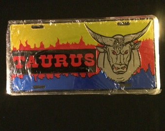 Taurus license plate zodiac horoscope the bull sign car tin sign shiny metallic colors April birthday