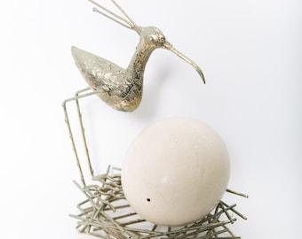 Brutalist Bird Sculpture Bird's Nest Egg Statue 1970s C. Jere Style
