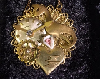 Steam Punk/Victorian/Syfy Pendant Hand Made in USA gold metal