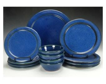 Dinnerware set. Four place settings.  Cobalt blue. Ready to ship.