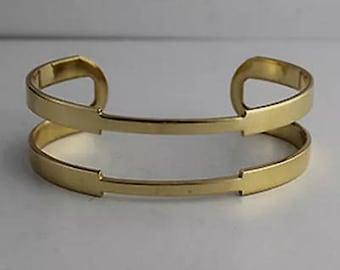 """1 Brass Cuff, Raw Brass Cuff, 3/4"""", Wide Cuff, Cutout Cuff"""