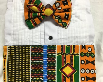 Bold African Kente Print in Orange and Maroon Cummerbund for a wedding or formal event