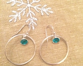 Sterling Silver hoops, Choice of Red, Clear, or Aqua Crystal earrings - Sterling Silver earrings - hoop earrings - Sterling Silver