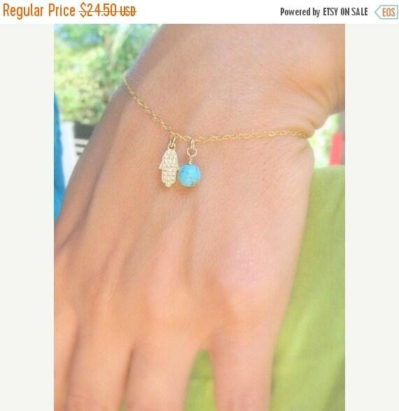 VALENTINES DAY SALE - Tiny hamsa bracelet - Gold hamsa bracelet - Turquoise bracelet - Delicate Hamsa bracelet - Dainty blue bracelet