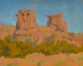 New Mexico - Red Rocks - Rock Formation - Plein Air - Oil Painting - Pillars - Desert - Cacti - Blue Sky - Landscape - Rocks - Geology -