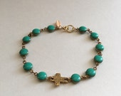 Turquoise bracelet - cross bracelet - turquose and cross - beaded bracelet - gold and turquoise