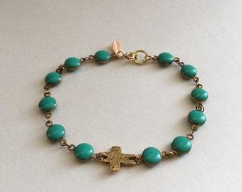 Turquoise bracelet - cross bracelet - turquose and cross - beaded bracelet - gold and turquoise
