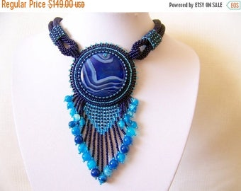 15% SALE Bead Embroidery Necklace Pendant Beadwork Necklace with Agate - MYSTICAL SKY - sky blue, dark blue necklace - statement necklace