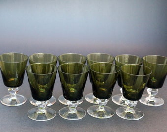 Mid Century Green Aperitif  Glasses Avocado Green Bowl on Clear Stem Vintage Barware Set of 10