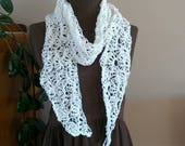 Crochet lacy hemp scarf