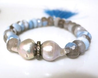 Pave Diamond Baroque Pearl Bracelet, Large Baroque pearls with blue banded agate, pearl tassel stacking bracelet, beachy resort coachella